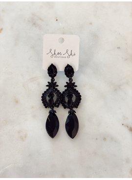 M Black Beaded Drop Earrings 4349