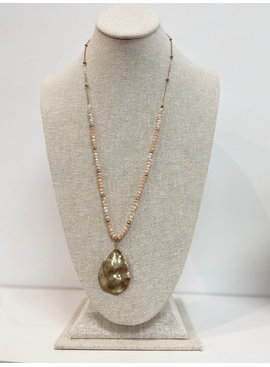 SS Amber Plated Teradrop Necklace