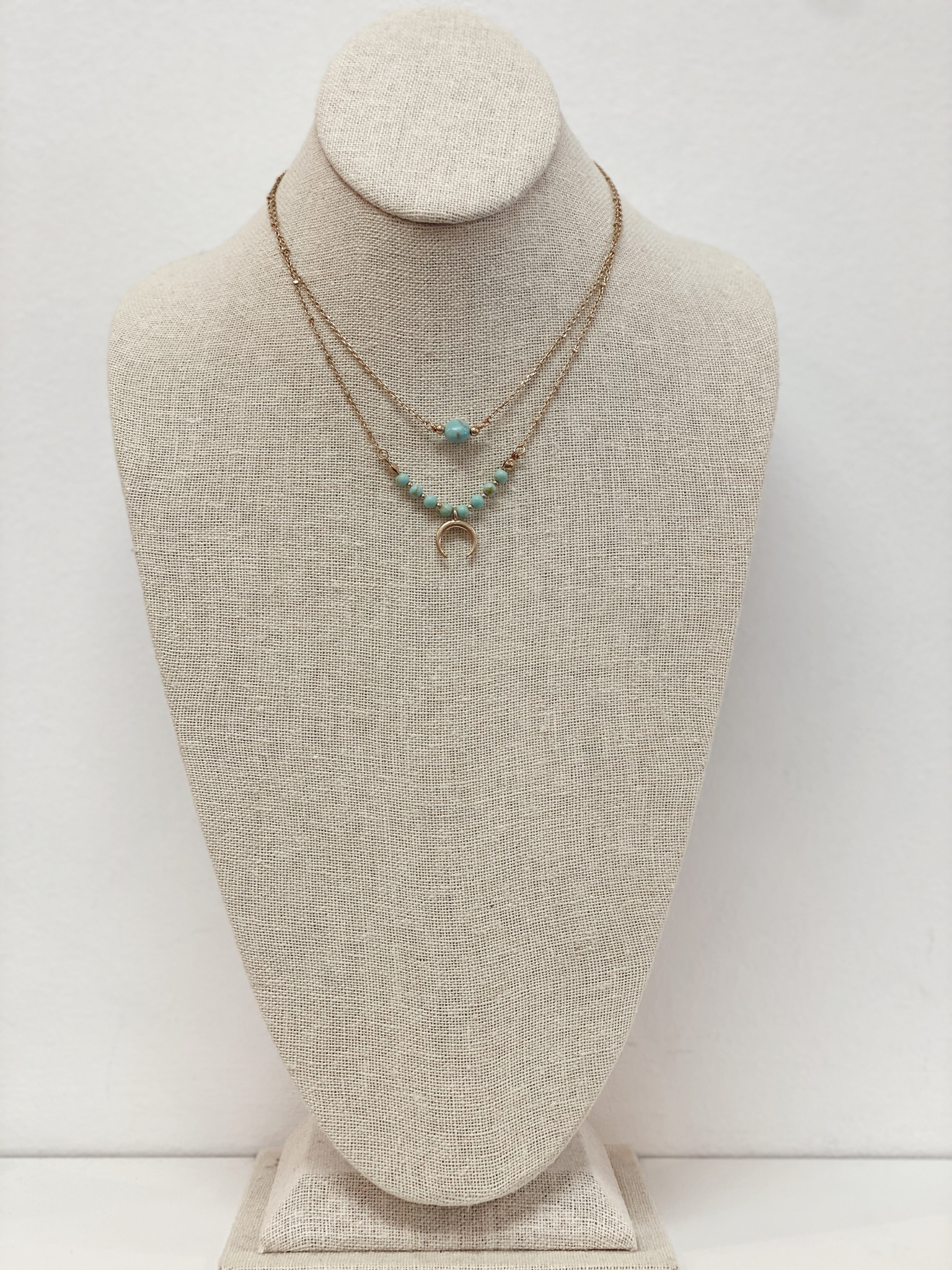 SS Layered Moon Necklace
