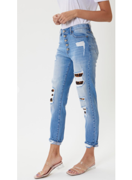 KC High Rise Leopard Patch Ankle Skinny 7131