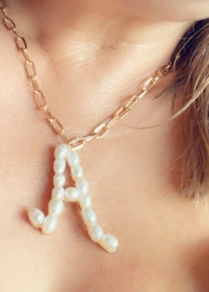 SAJ Pearl Initial Necklace