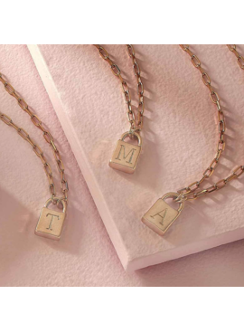 FR Initial Padlock Necklace 21769