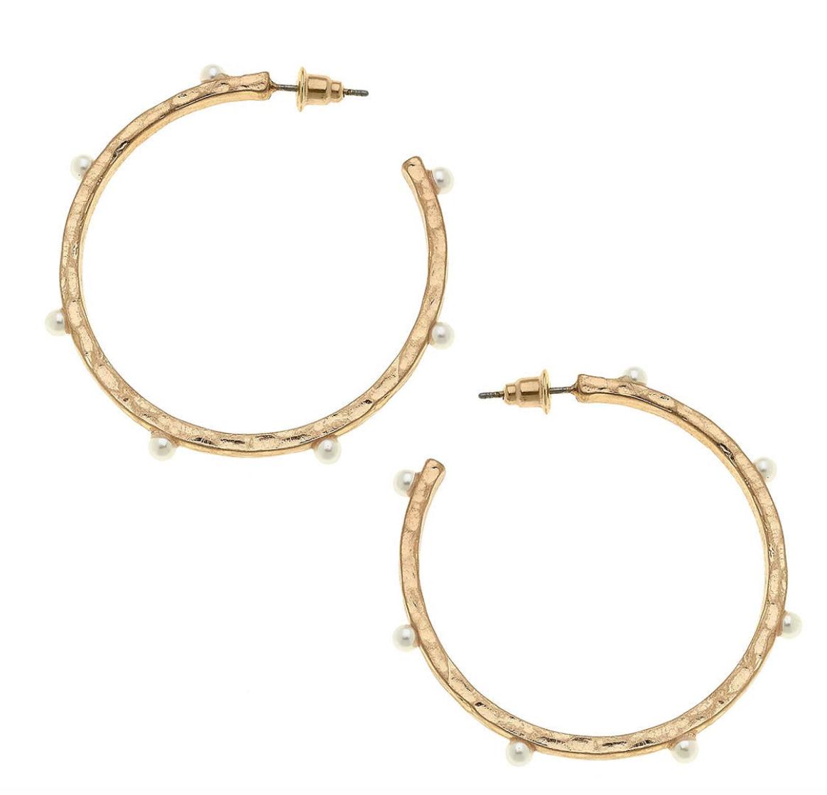 CV Studded Open Hoop Earring 21629