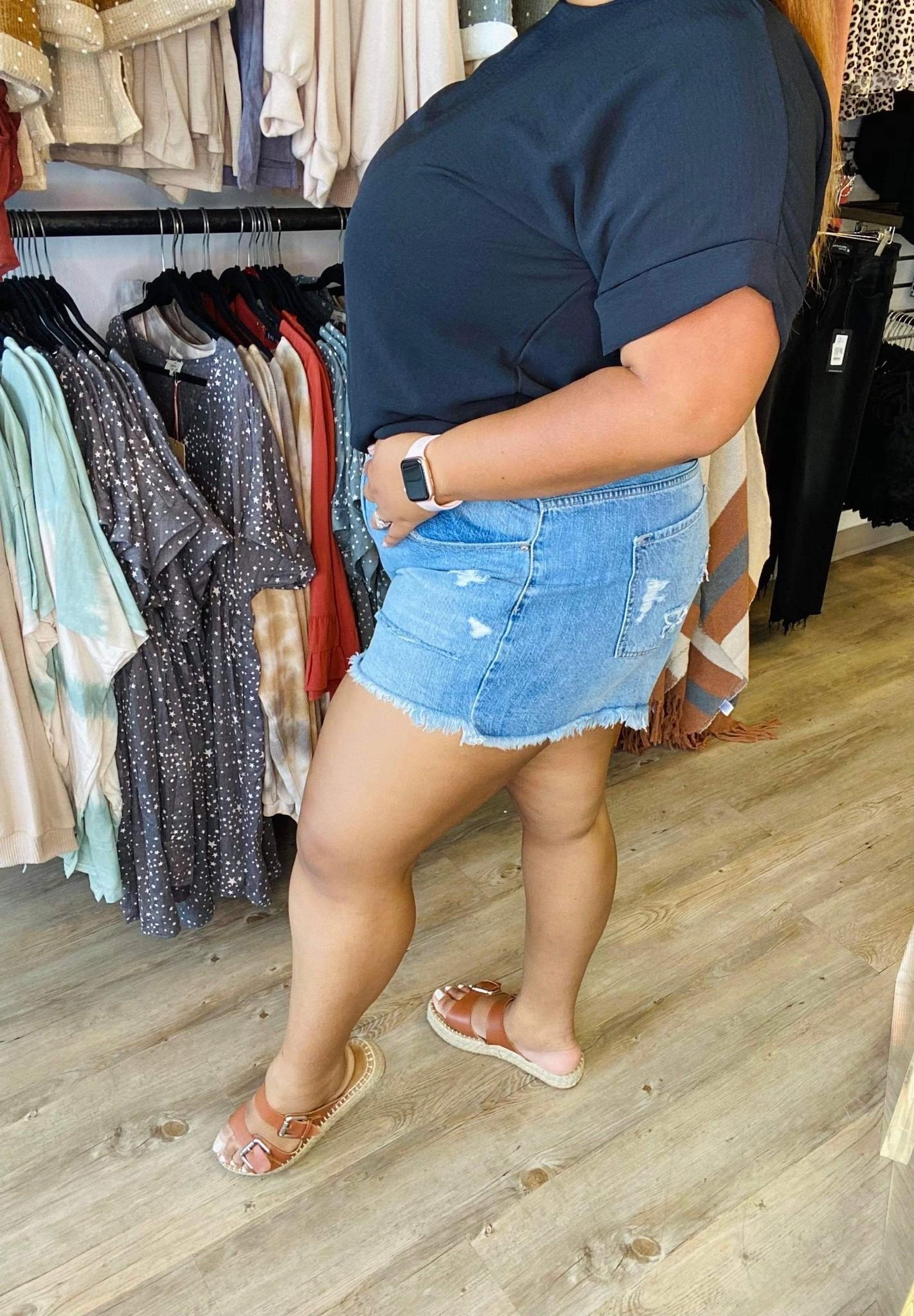 KC Hazel High Rise Mom Shorts 8560P