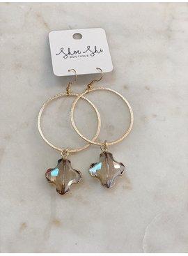 SAJ Hoop with Clover Stone Earrings