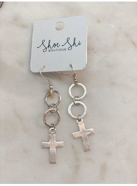 SAJ Hoop Drop Cross Earrings