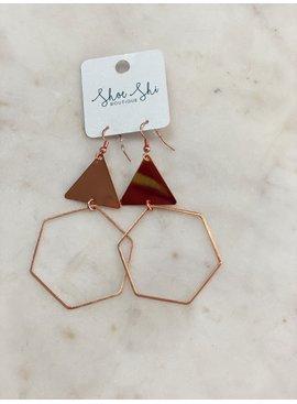 SAJ Triangle Hexagon Earrings