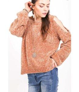 VJ Cold-Shoulder Knitted Sweater 1288