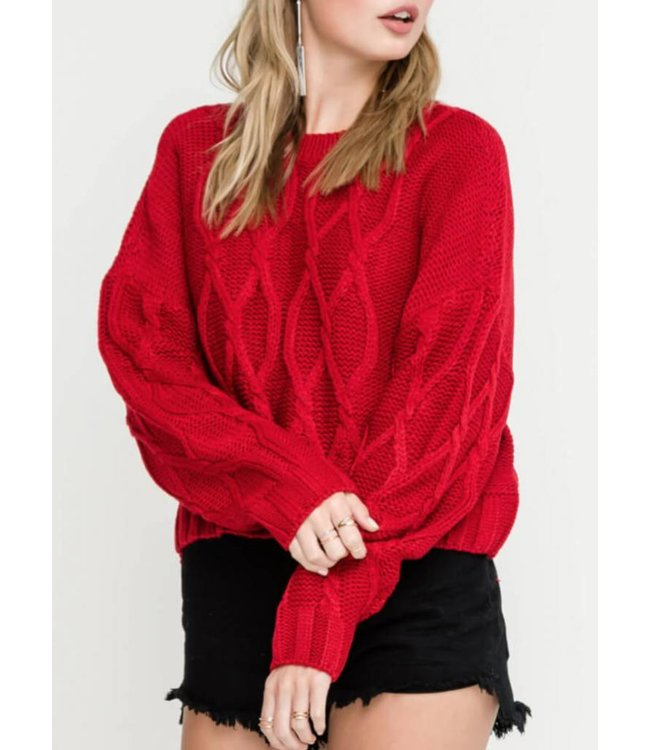LSH Cable Knit Cropped Sweater 13514