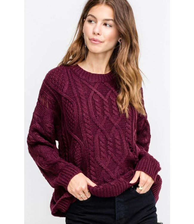 Distress Cable Sweater 13515