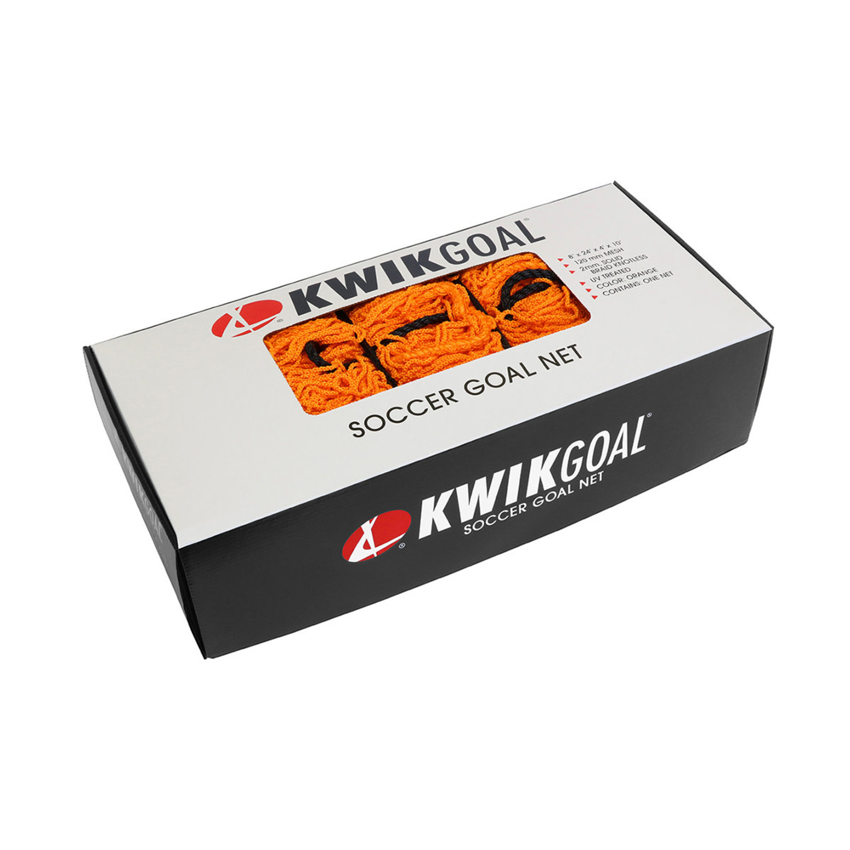 KWIK GOAL Recreational Soccer Net - 8H x 24W x 4D x 10B, 120mm mesh, Solid Braid Knotless