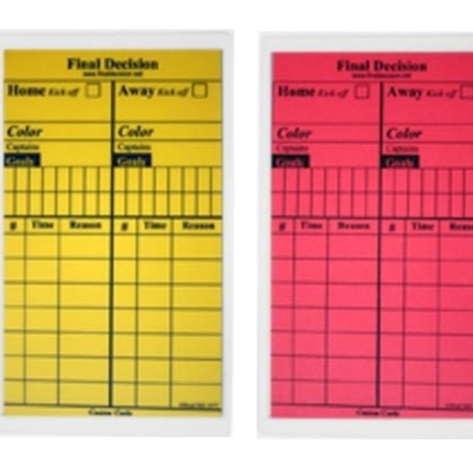 FINAL DECISION REFEREE WRITE-ON CARDS