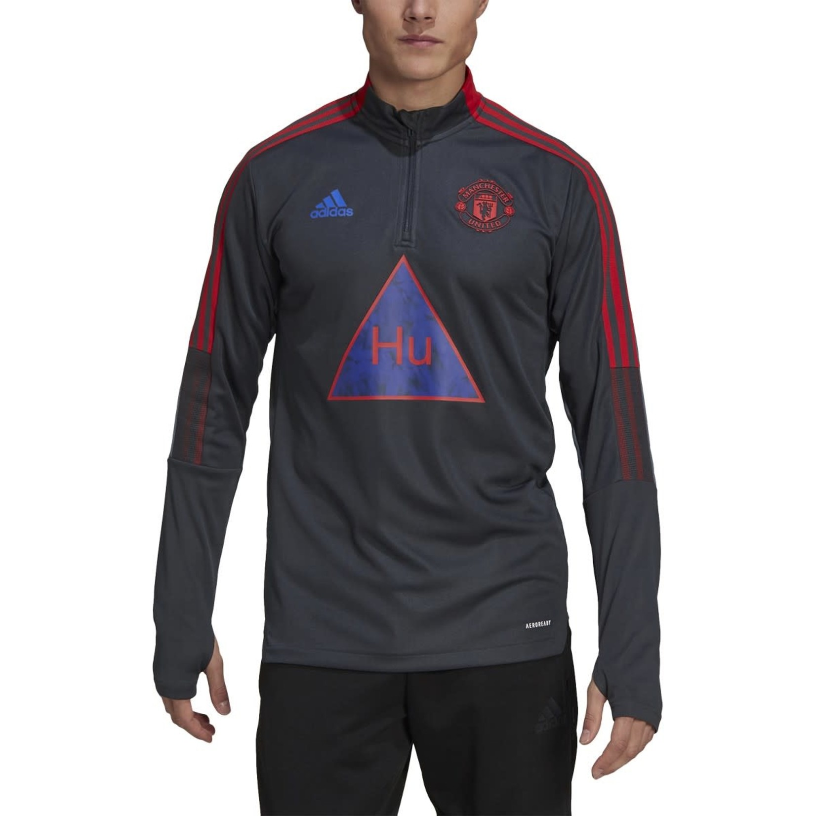 ADIDAS MANCHESTER UNITED HUMANRACE TRAINING TOP (GRAY/RED)