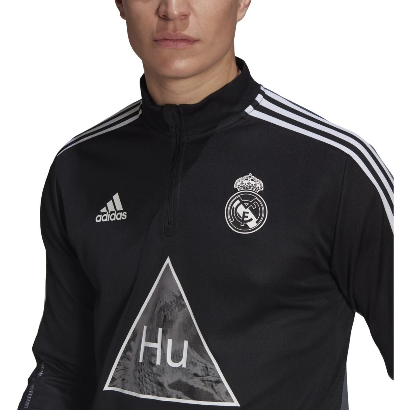 ADIDAS REAL MADRID HUMANRACE TRAINING TOP (BLACK/WHITE)