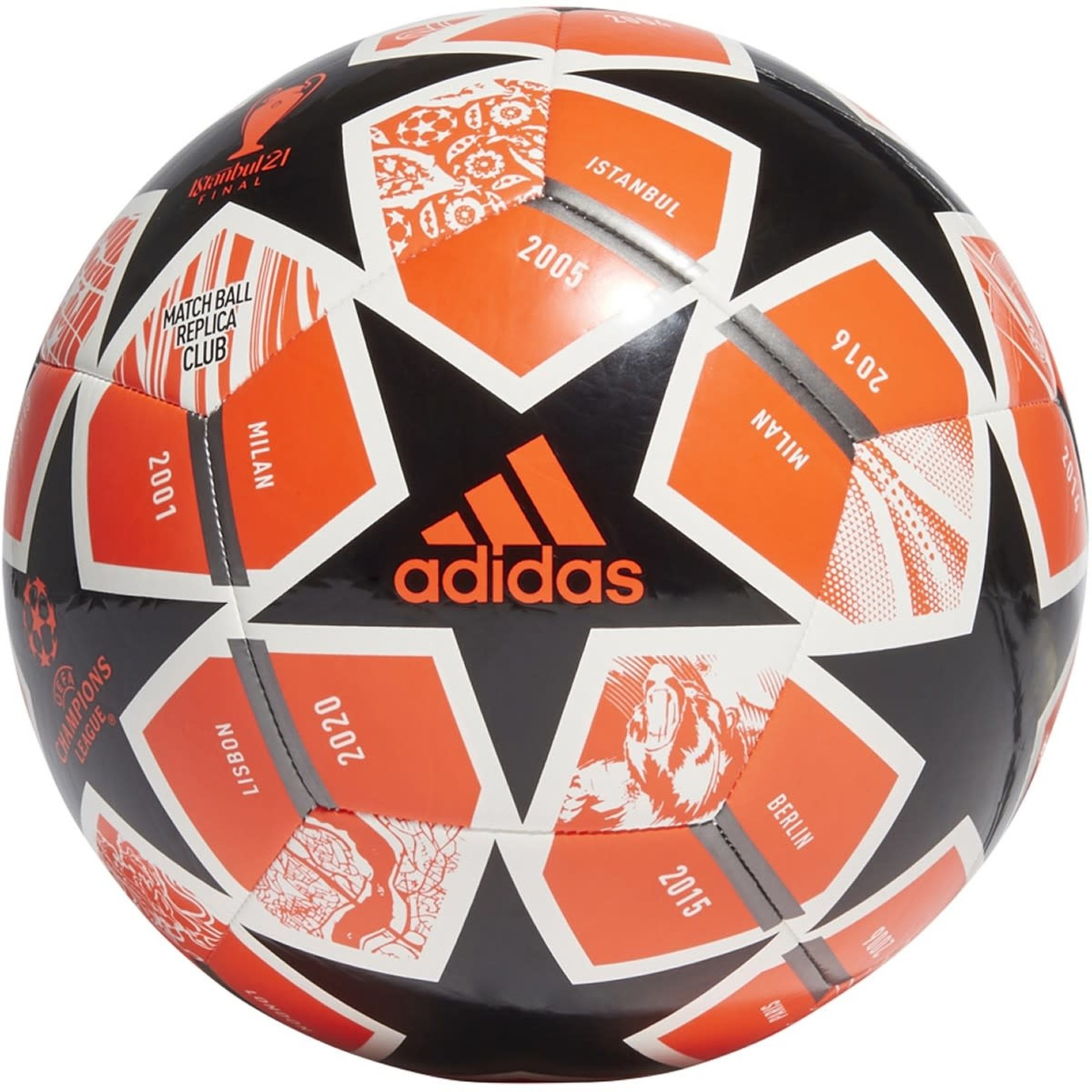 ADIDAS FINALE 21 20TH ANNIVERSARY UCL CLUB BALL (BLACK/ORANGE)