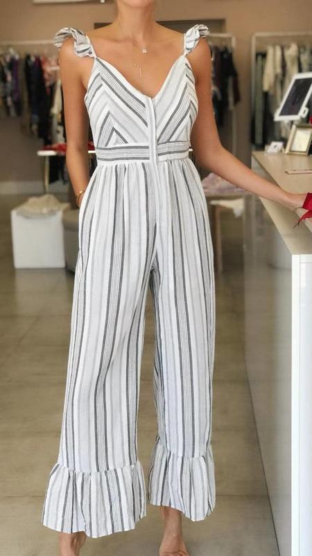 Stripe Pattern Woven Jumpsuit