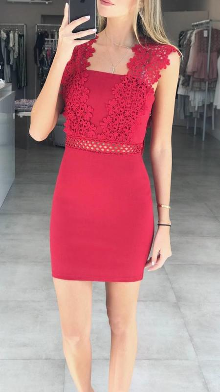 Bodycon Dress with Crochet Detail