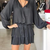 Pleated Long Sleeve Dress