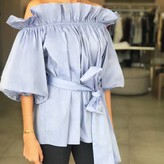 Off Shoulder Waist Tie Blouse