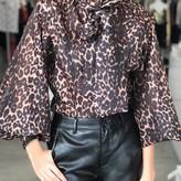 Long-Sleeve Leopard Print Neck Bow Blouse