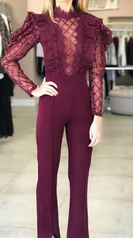 Lace Sequin Detail Jumpsuit