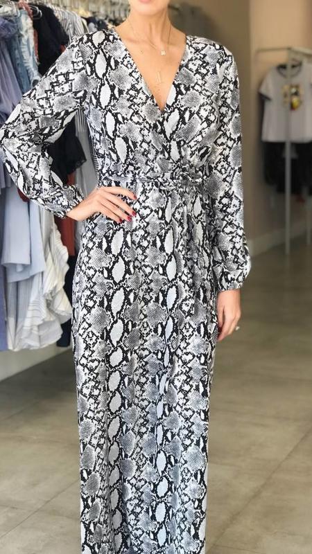 Faux Snake Skin Print Maxi Dress