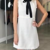 Bow Tie Neck Tweed Dress