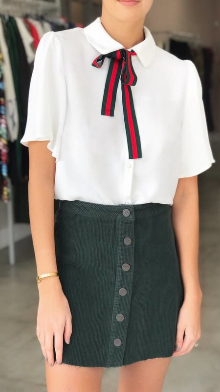 Collared Flutter Sleeve Tie Neck Blouse
