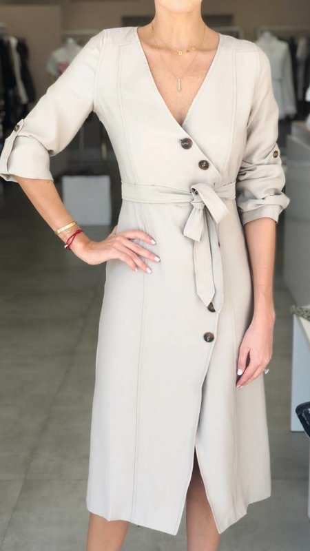 Long Sleeve Wrap Dress with Buttons