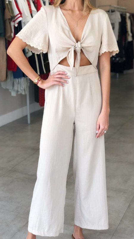 Bell Sleeve with Lace Trim and Front Cut Out Jumpsuit