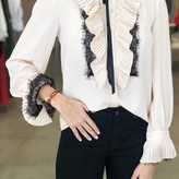 Lace and Ruffle Sleeves Blouse