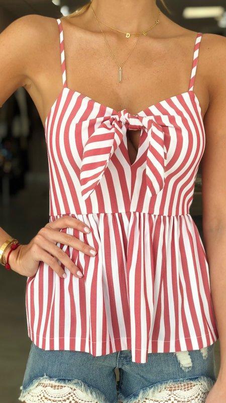 Knotted Striped Poplin Cami