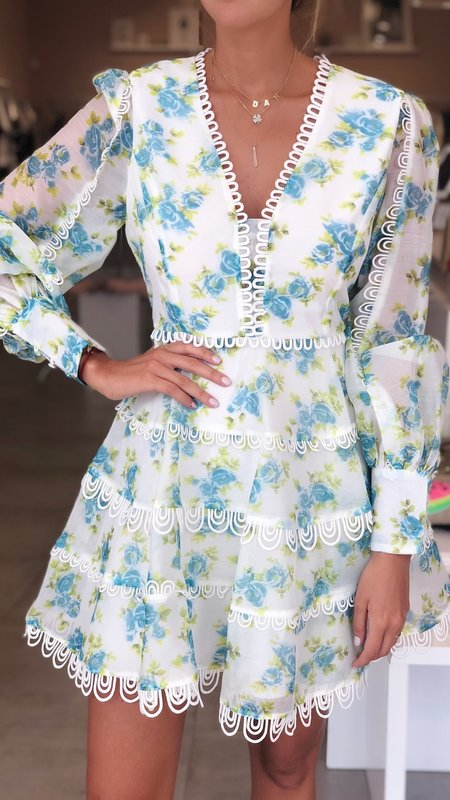 Embroidery Flower Print Dress