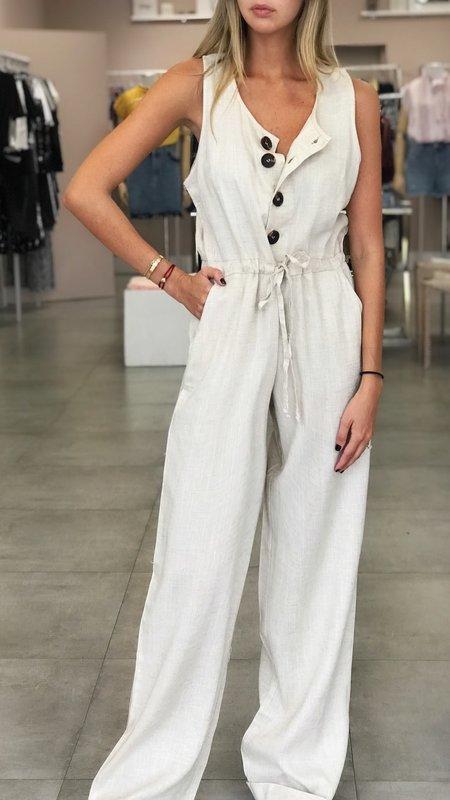 Button Up Linen Jumpsuit
