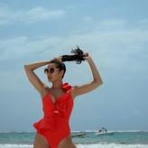 Neon Side Ruffle One Piece Bathing Suit