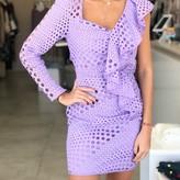 One Shoulder Front Ruffle Design  Dress