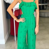 Emerald Ruffle Side Cut Jumpsuit