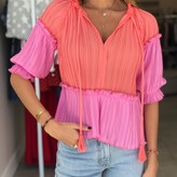Rose Two Tone Pleated Blouse