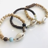 Mahalia Craved Bead & Seashell Bracelet Set