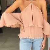 Liss Pleated Cold Shoulder Top
