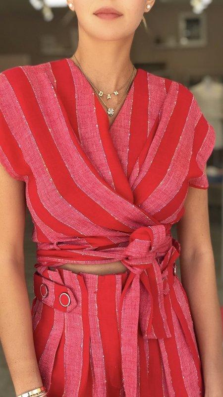 Ruby V-Neck  Wrap Top With Waist Tie