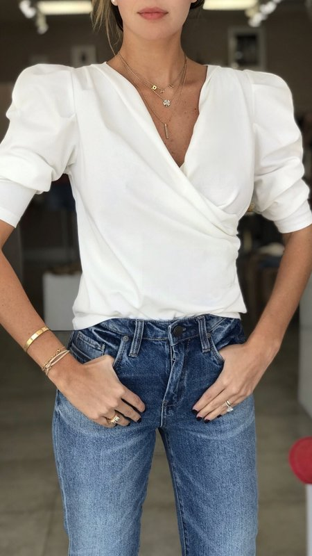 Daniela Puff Sleeve Crossed Front Top