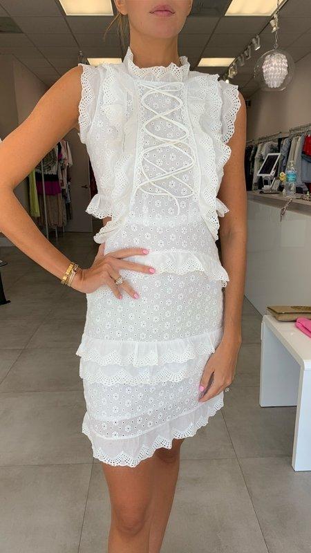 Phoebe Halter Neck & Ruffles Lace Dress