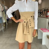 Elina Tie Front Dual Shirt Dress