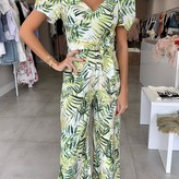 Demi Tropical Puffy Sleeves & Tie Waist Jumpsuit