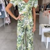 Demi Tropical Puffy Sleeves & Tie Waist Jumpsuit