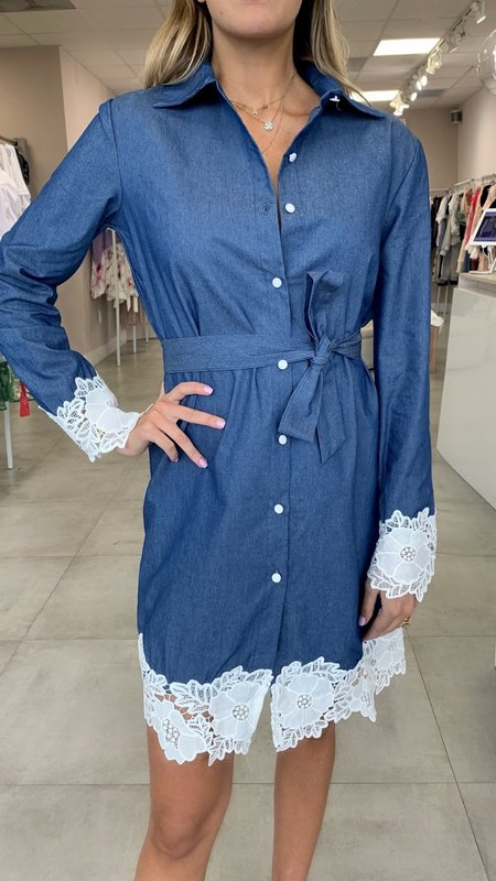 Celeste Lace Hem Belted Shirt Dress