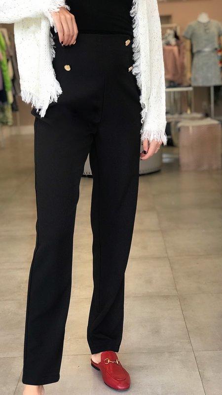 High Waist Double Button Tailored Pants
