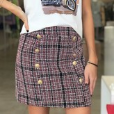 Harper Plaid Tweed Skirt With Gold Buttons