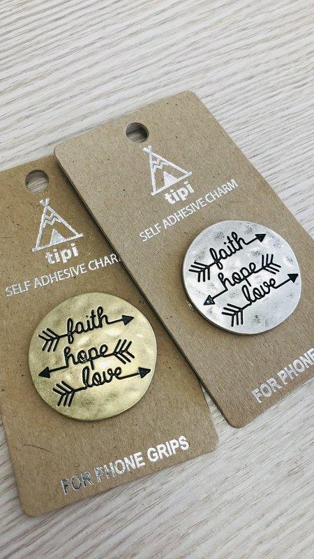 Faith Hope Love Self Adhesive Charm